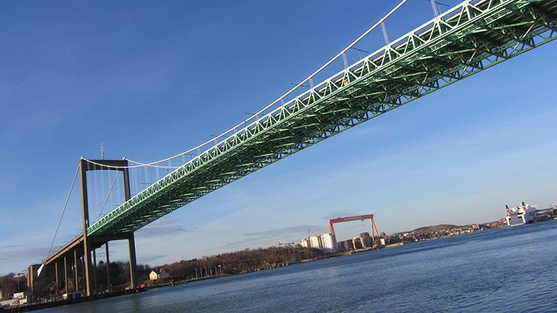 Puente colgante sobre el río Gotia.