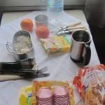 Comida a bordo del tren transiberiano.