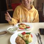 Comida en el vagón restaurante del tren transiberiano.