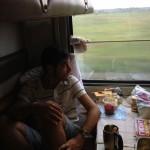 Una comida cualquiera en el vagón del tren transiberiano.