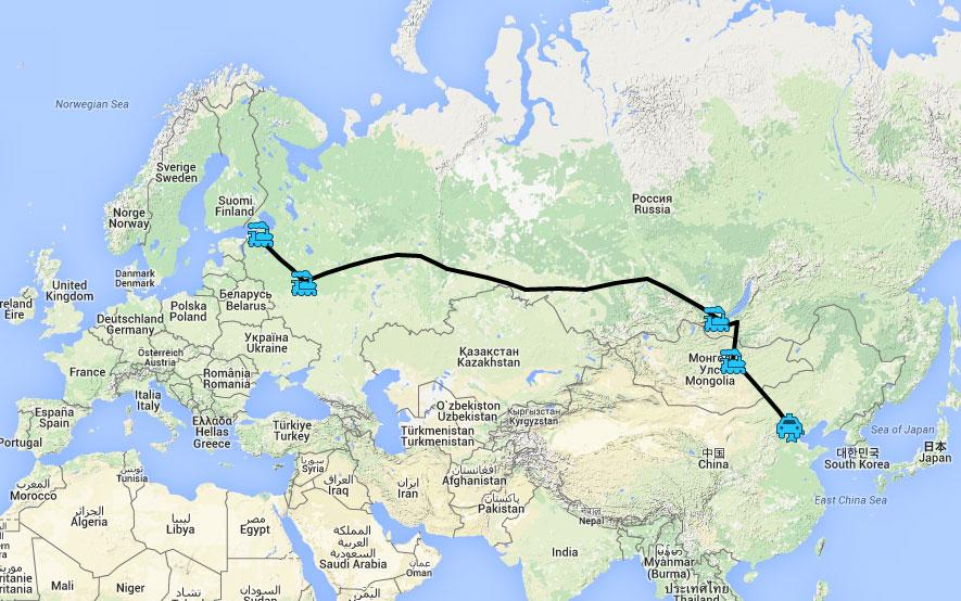 Ruta de las etapas del tren Transmongoliano desde San Petersburgo a Beijing.