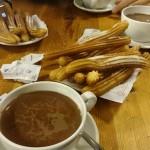 Chocolate con churros en La Fama, en el Real Sitio de La Granja de San Ildefonso, en Segovia.